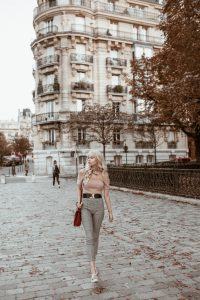 Sarah walking outside of Luxembourg Gardens. Autumn Dusk preset applied.
