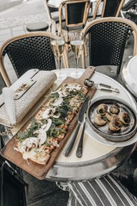 Cafe spread with escargot and pizza. Avenue preset applied.