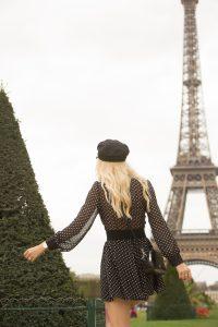 Sarah Loven walking towards Eiffel Tower.