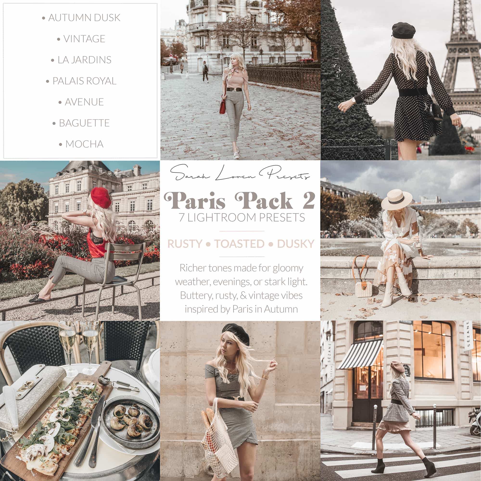 Sarah Lovens Paris Pack 2 for Adobe Lightroom.