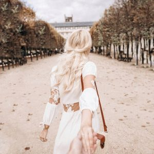 Walking with Sarah Loven in Luxembourg Gardens. Paris, France